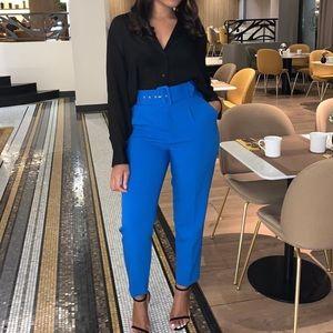 Zara darted High waisted blue trouser